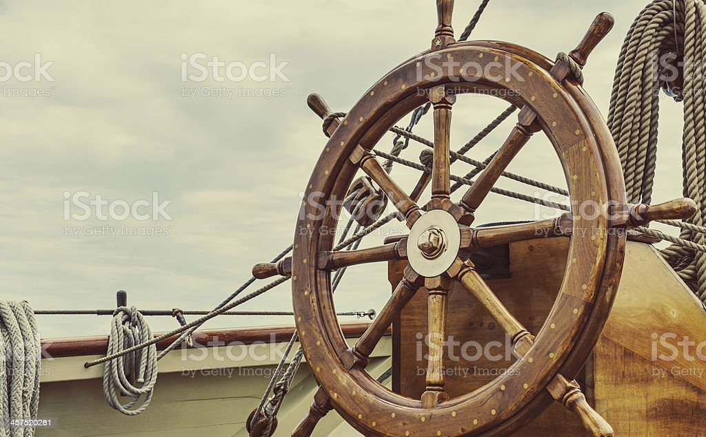 Tall Ship's Helm stock photo