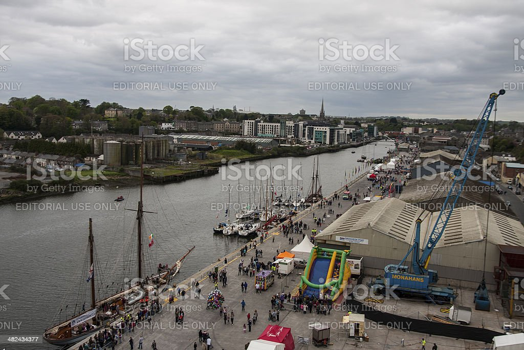 Tall Ships on the quays at Drogheda stock photo