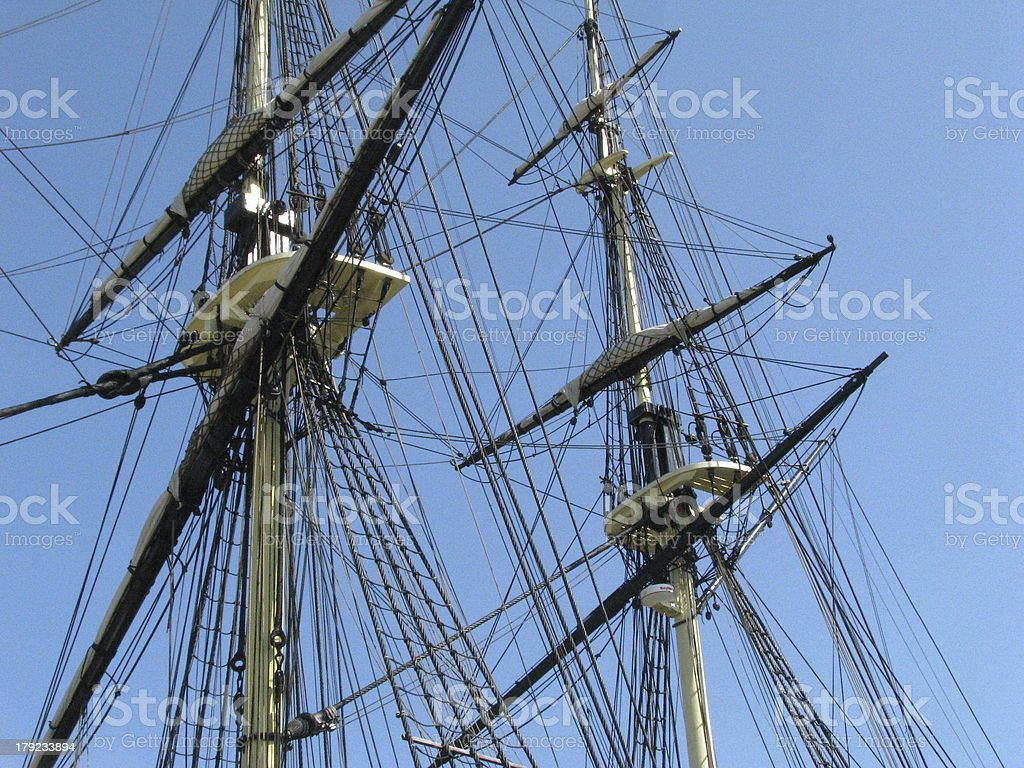 Tall ships rigging against the sky. royalty-free stock photo