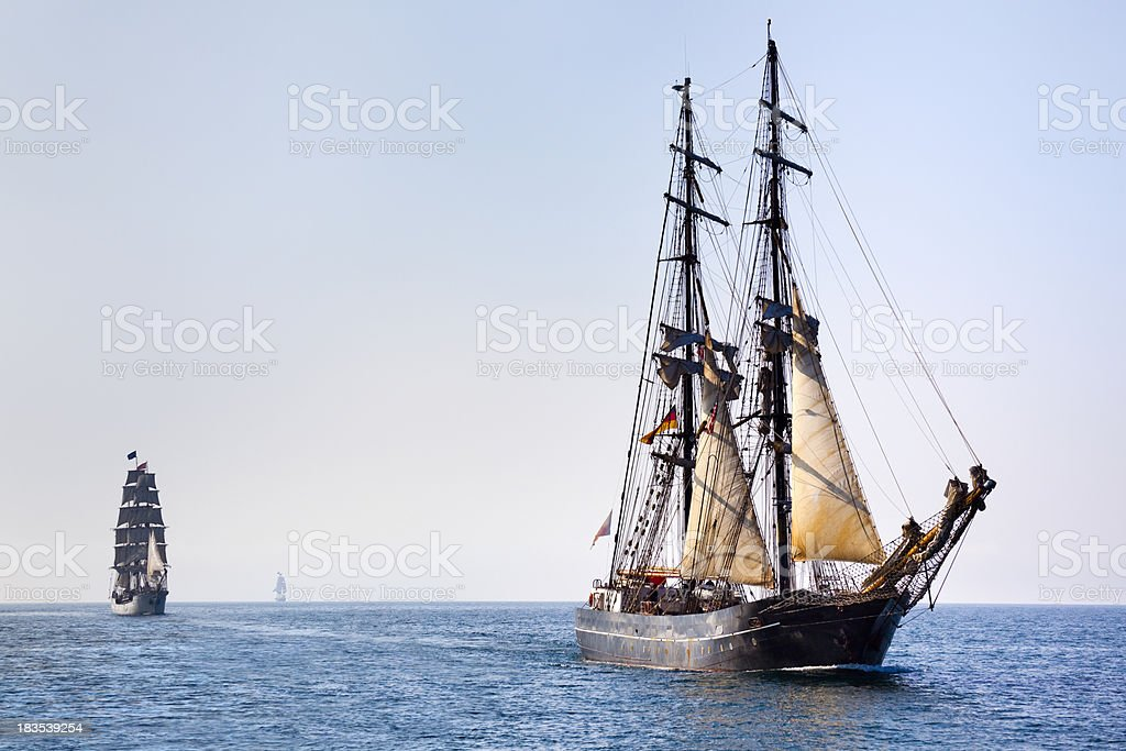 Tall Ships Sailing on Sunny Morning royalty-free stock photo