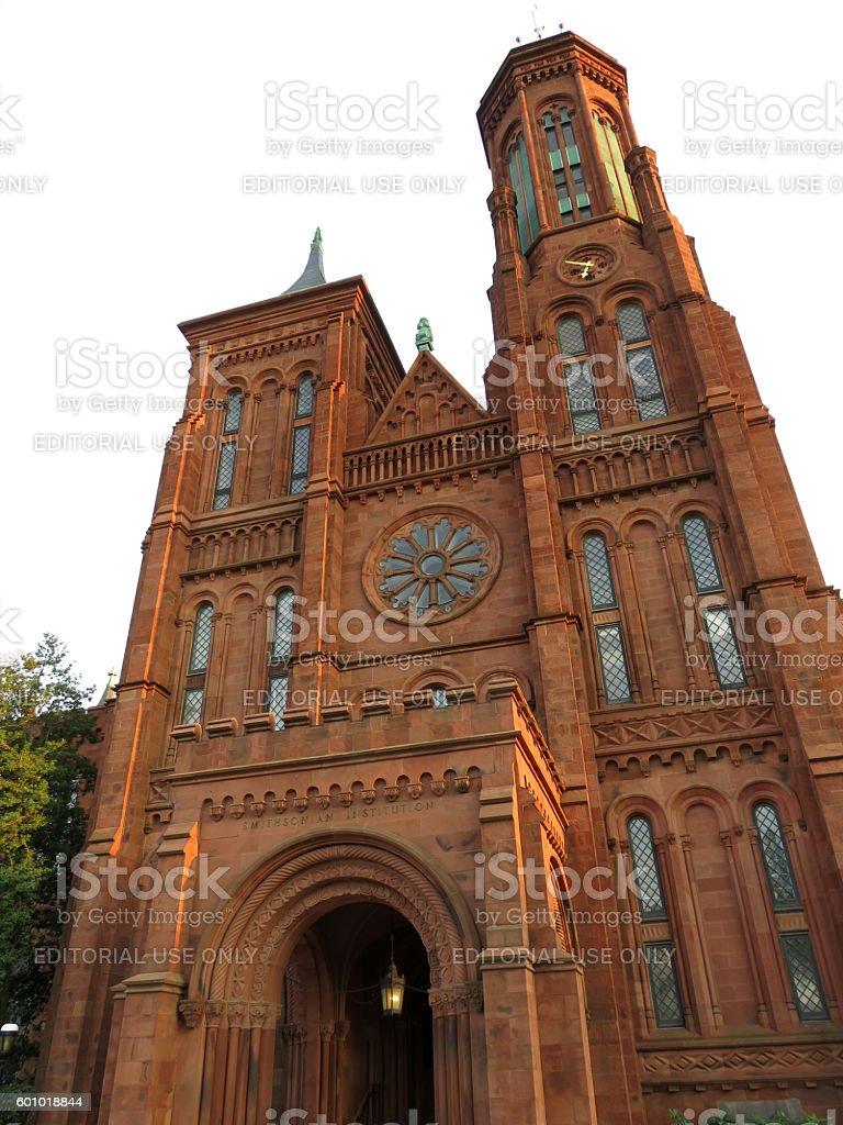 Tall Smithsonian Castle stock photo