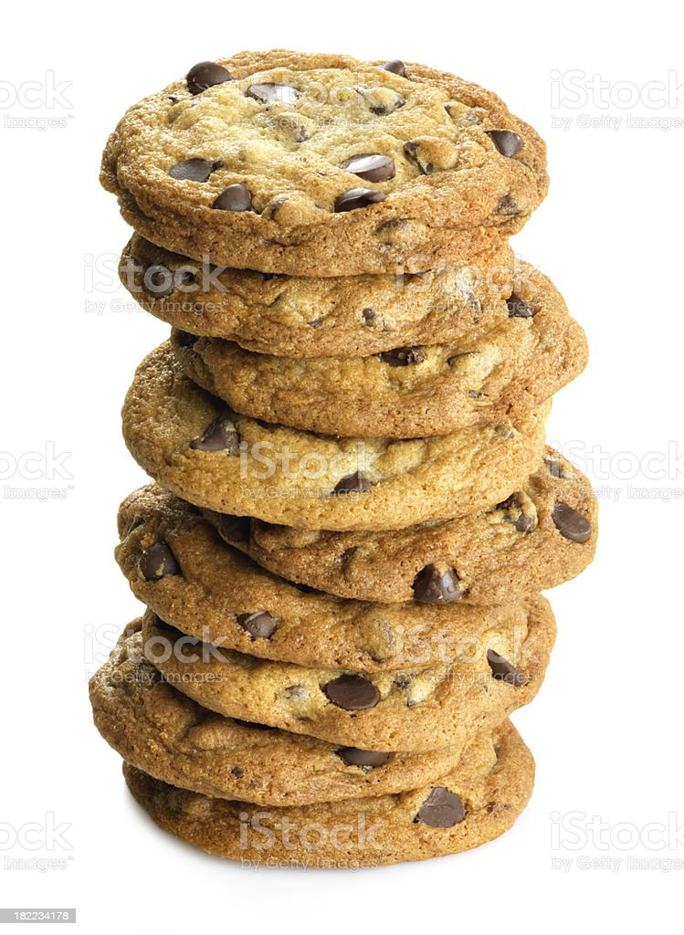 Tall stack of Cookies and white background royalty-free stock photo