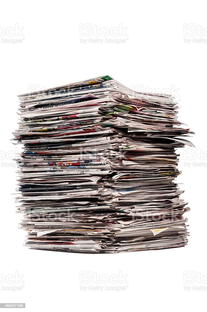 Tall Stack Of Newspapers Isolated stock photo