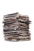 Tall Stack Of Newspapers Isolated