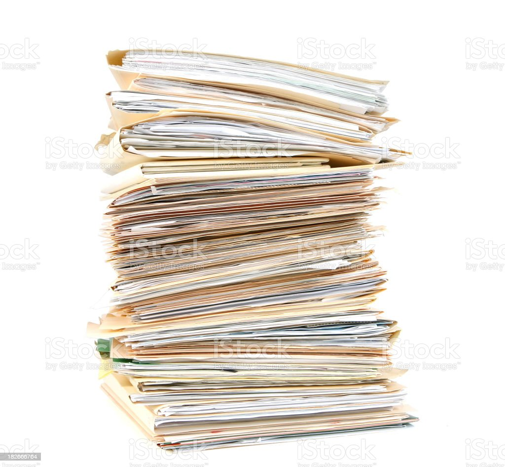 Tall Stack of Work Folders royalty-free stock photo