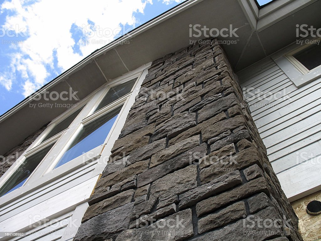 Tall stone veneer construction project royalty-free stock photo