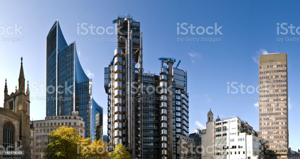 Tall structural London buildings stock photo