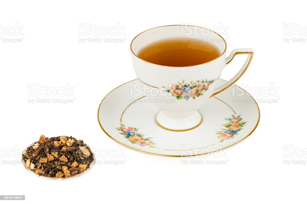 Tall Tea Cup with Flavored Tea and Isolated on a White background with Deep Sharp Focus stock photo