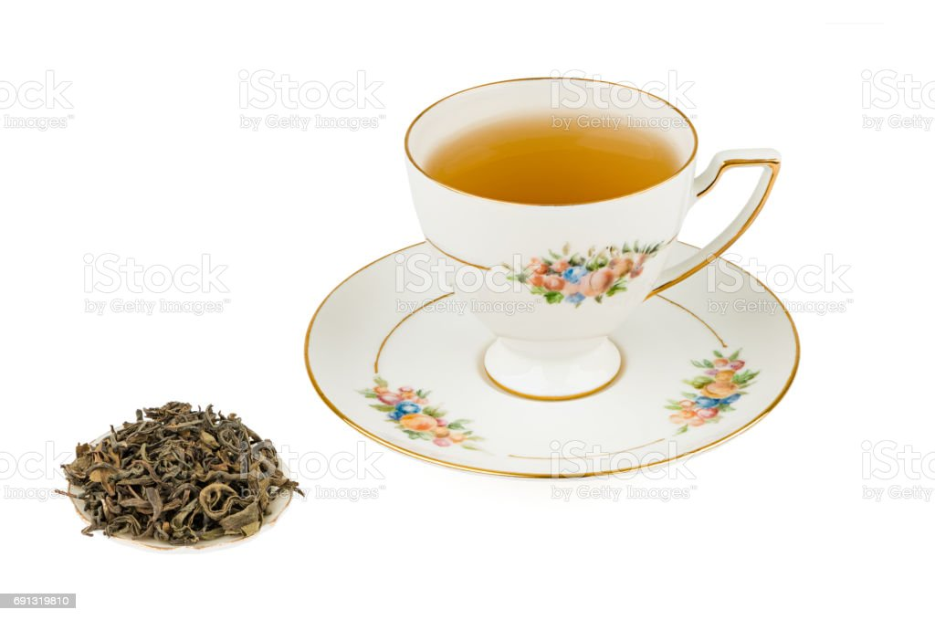 Tall Tea Cup with Green Tea and Isolated on a White background with Deep Sharp Focus stock photo