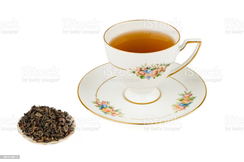 Tall Tea Cup with Oolong Tea and Isolated on a White background with Deep Sharp Focus stock photo
