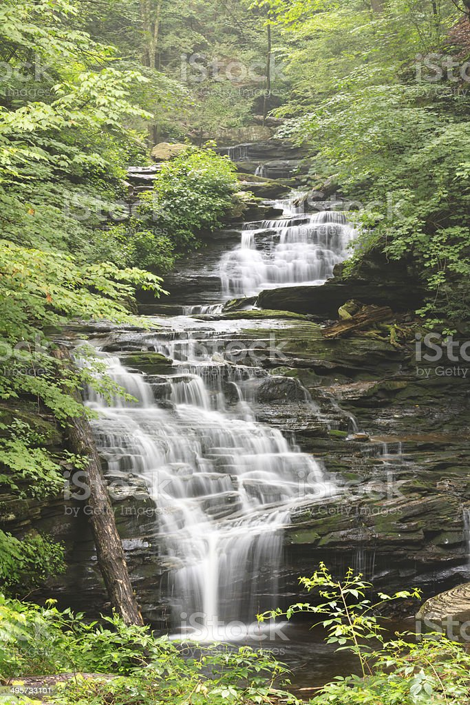Tall Vertical Mountain Waterfall stock photo