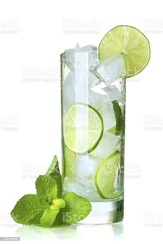 Tall water glass with icy limeade and mint leaves stock photo