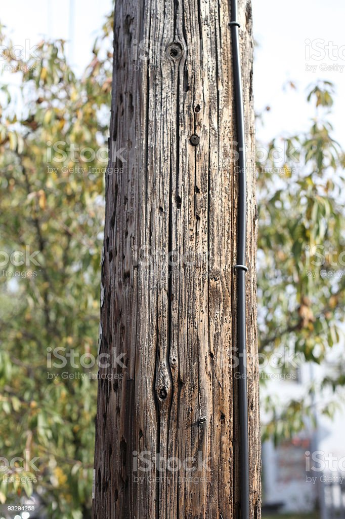 Tall, wooden telephone pole outside stock photo