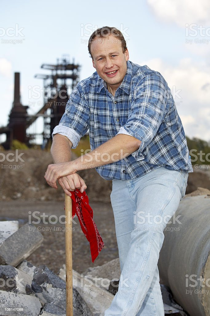 Tall Worker Taking a Break royalty-free stock photo