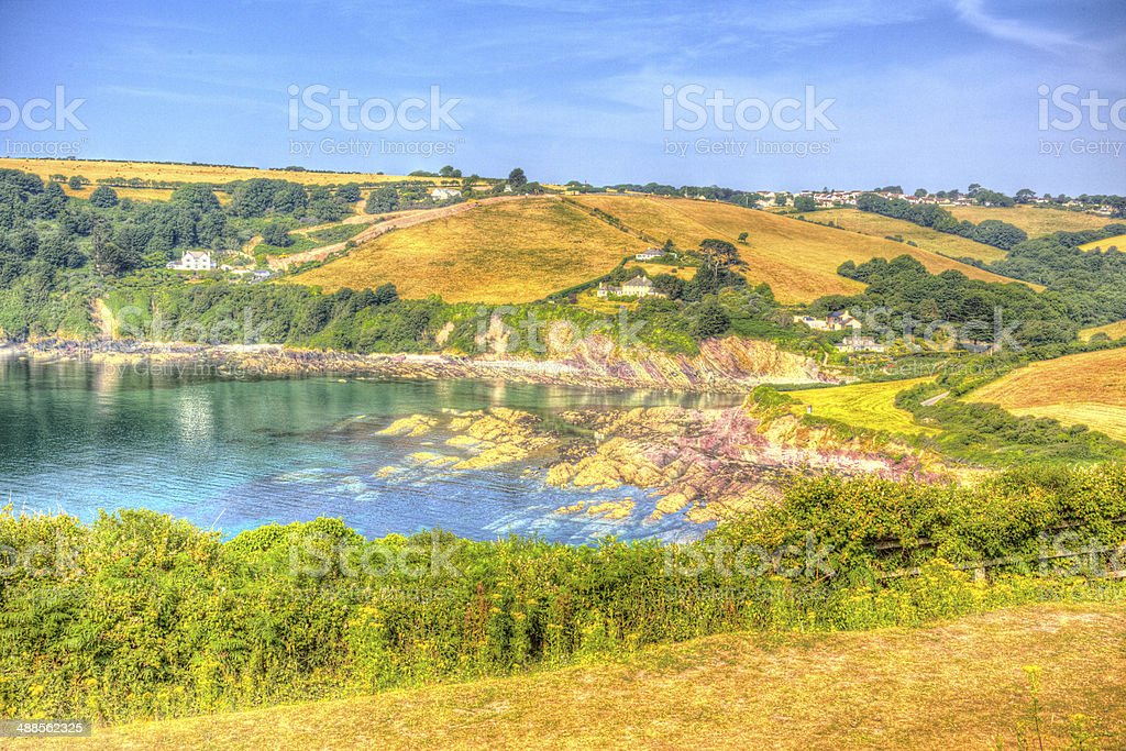 Talland Bay Cornwall England UK in HDR vivid colours stock photo