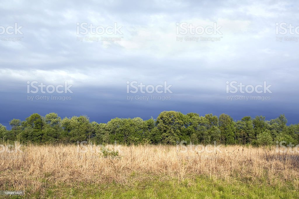 Tallgrass prairie remnant and dramatic sky in spring stock photo