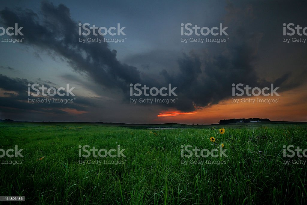 Tallgrass Prairie Sunset stock photo