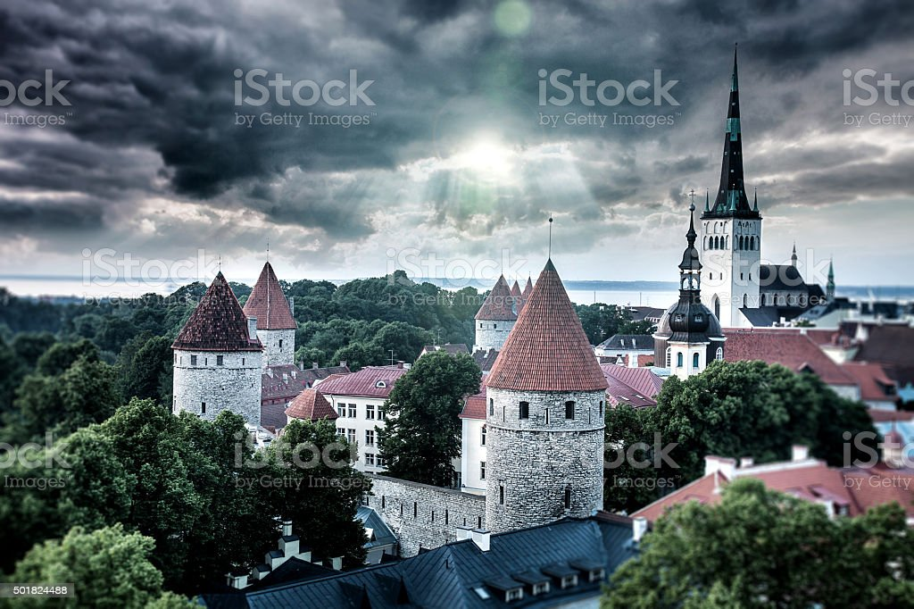 Tallinn aerial Old Town cityscape and huge clouds stock photo