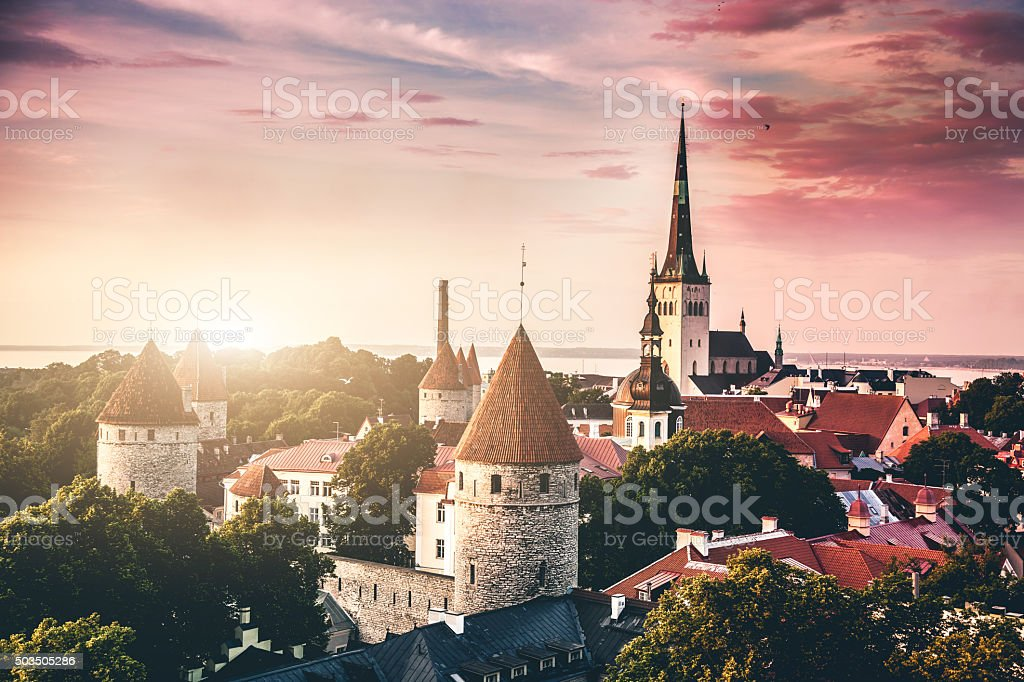 Tallinn aerial Old Town cityscape stock photo