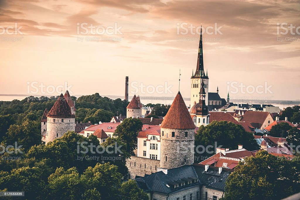 Tallinn aerial Old Town cityscape stock photo
