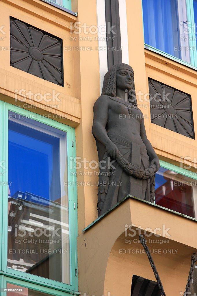 Tallinn, Estonia. Detail of an art nouveau facade. stock photo