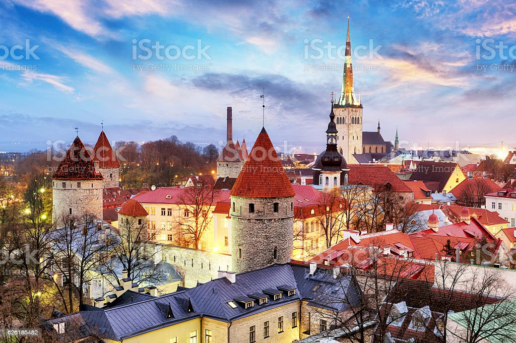 Tallinn, Estonia old city view from Toompea Hill at sunrise stock photo
