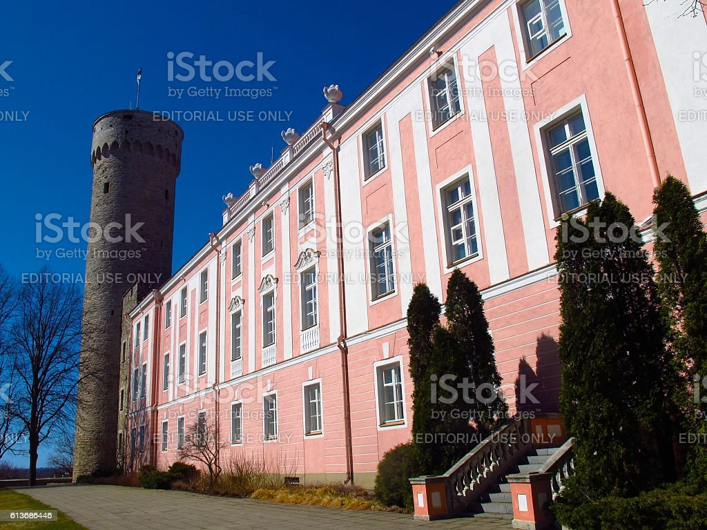 Tallinn Estonia Pikk Hermann Tower and Toompea Palace stock photo