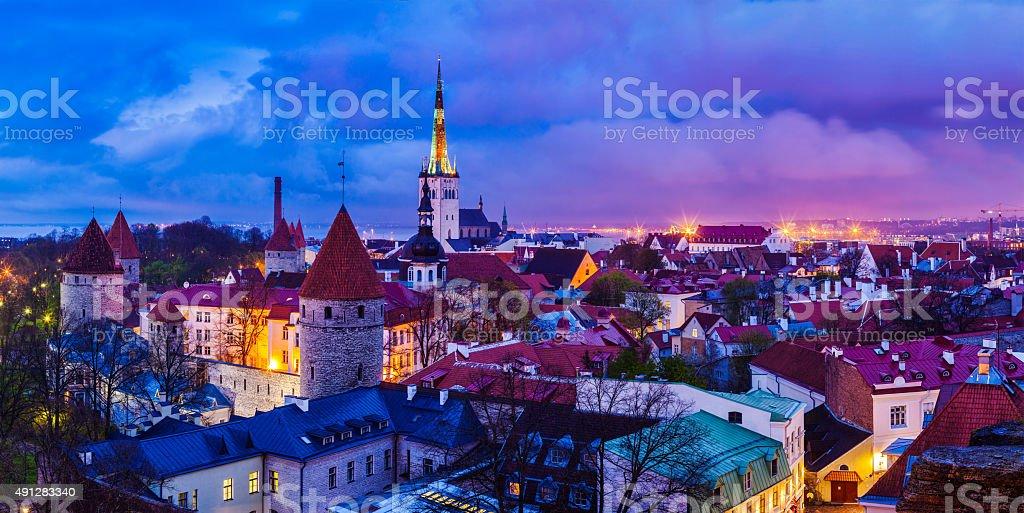 Tallinn Medieval Old Town panorama, Estonia stock photo