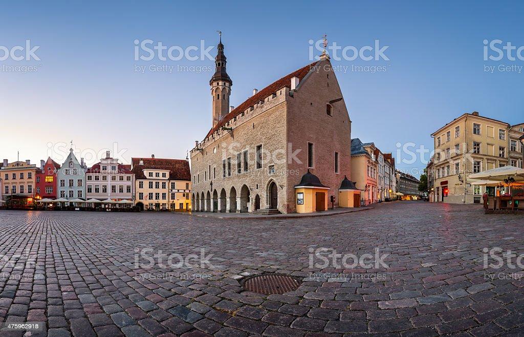 Tallinn Town Hall and Raekoja Square in the Morning, Tallinn stock photo