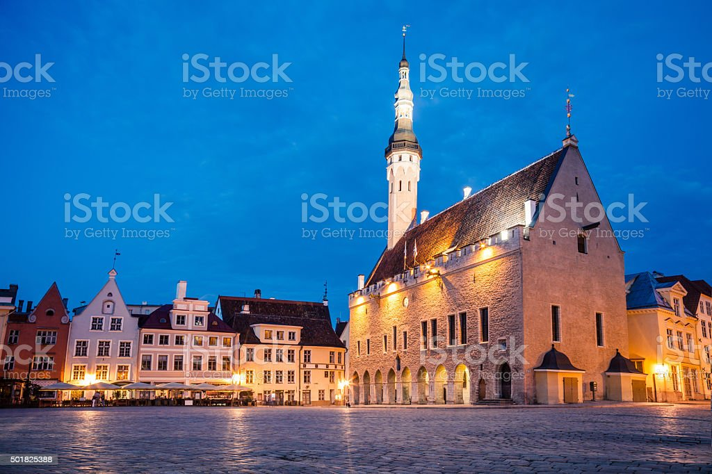 Tallinn Town Hall Square at night stock photo