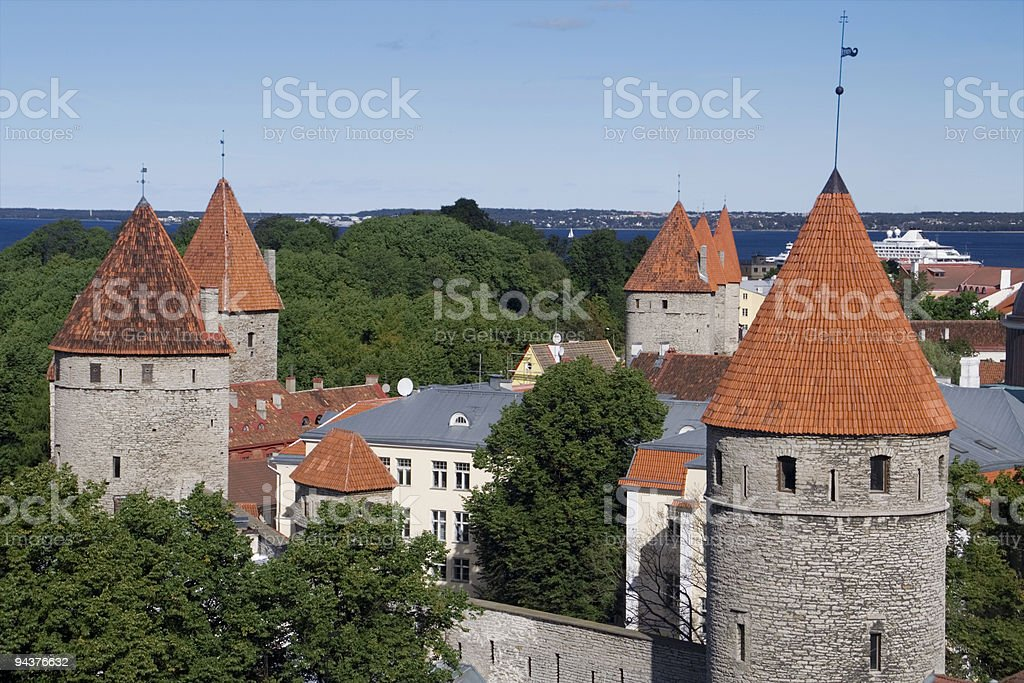 Tallinn wall towers royalty-free stock photo