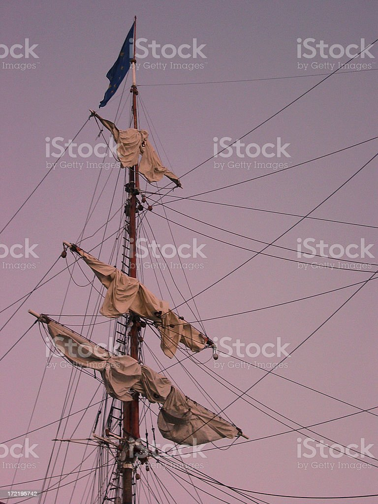 Tallship mast at sunset royalty-free stock photo
