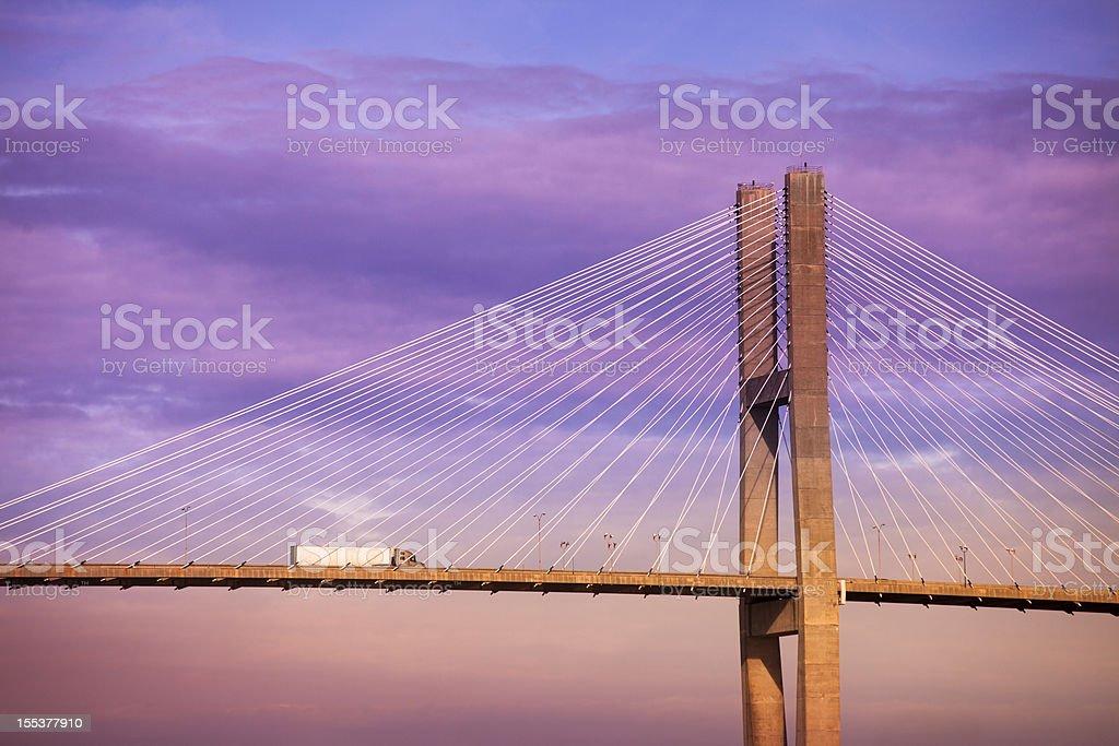 Talmadge bridge into Savannah Georgia stock photo