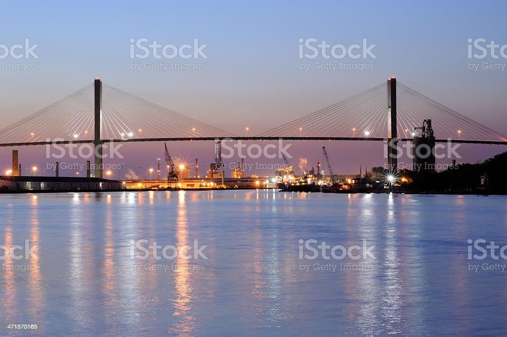 Talmadge Bridge over Savannah River stock photo