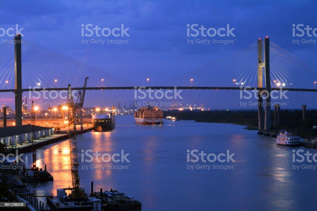 Talmadge Memorial Bridge at Night stock photo