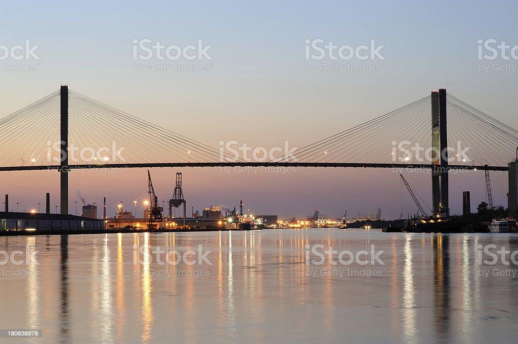 Talmadge Memorial Bridge at Sunset stock photo