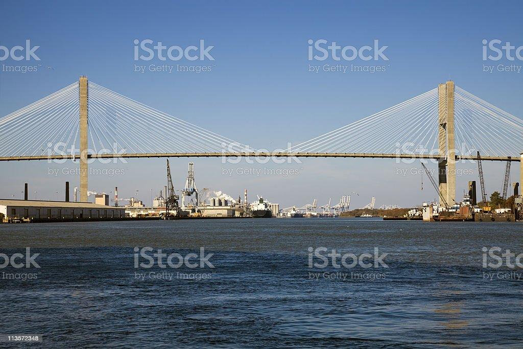 Talmadge Memorial Bridge in Savannah, Georgia. stock photo