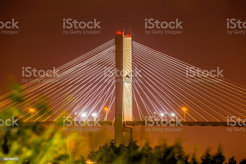 Talmadge Memorial Bridge in savannah georgia stock photo