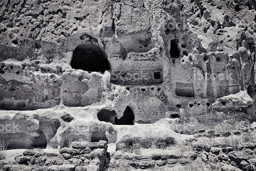 Talus Houses Cliff Dwellings - Bandelier National Monument royalty-free stock photo