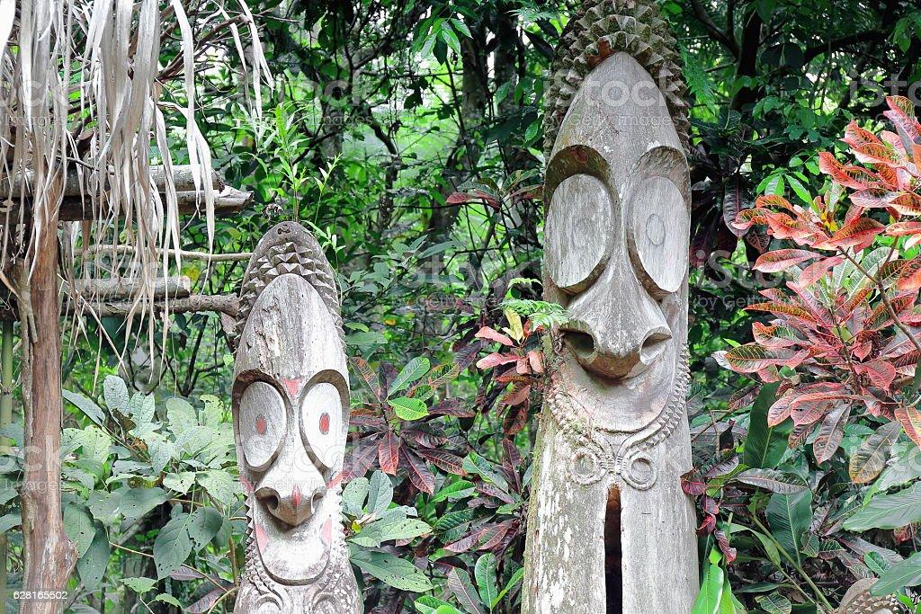Tam tams-slit gongs of the Mage society. Ambrym island-Vanuatu. 6135 stock photo