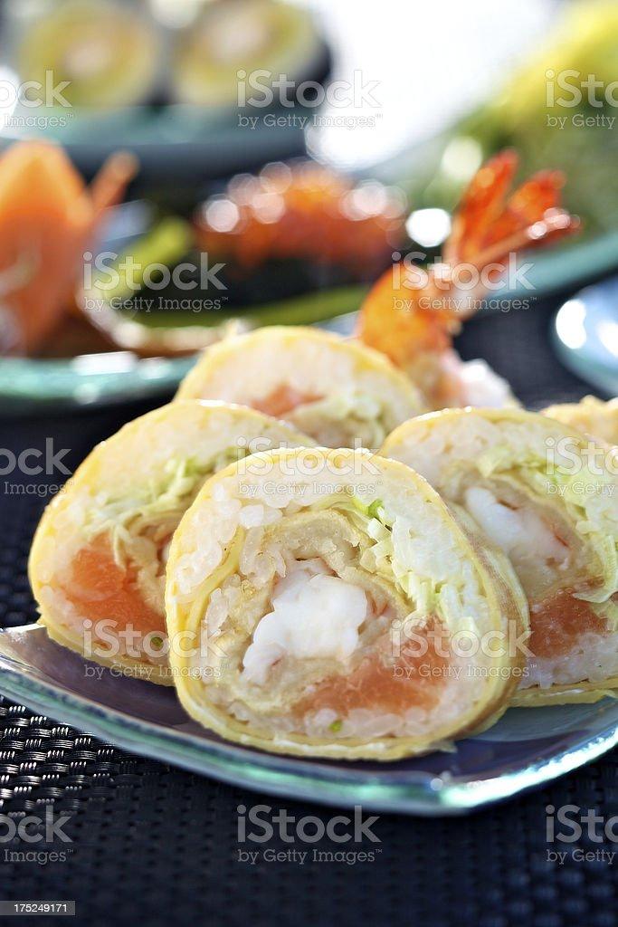 Tamago futomaki sushi stock photo