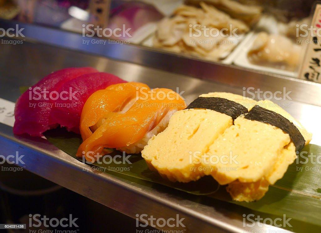 Tamago sushi and salmon sushi stock photo