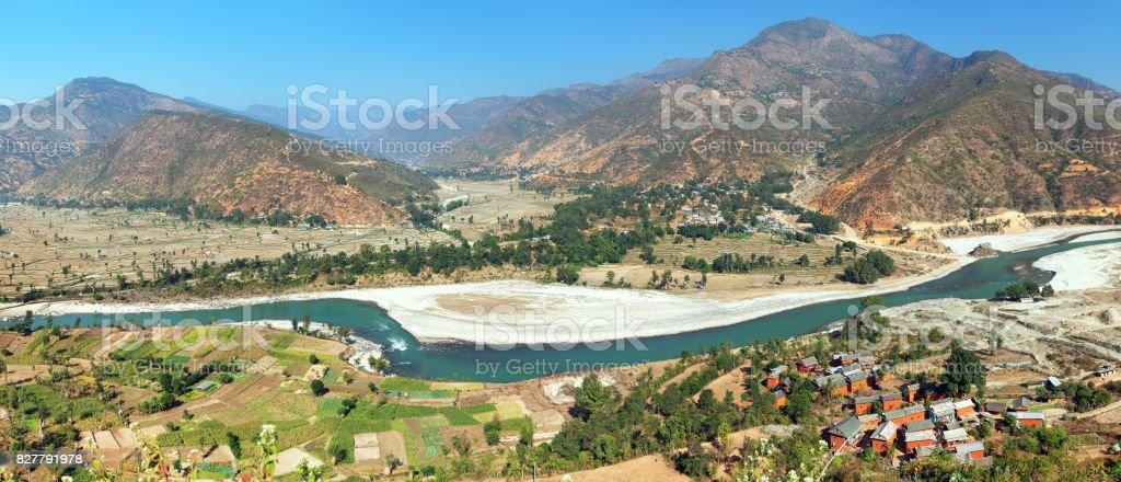Tamakoshi Nadi river in Nepalese himalayas stock photo