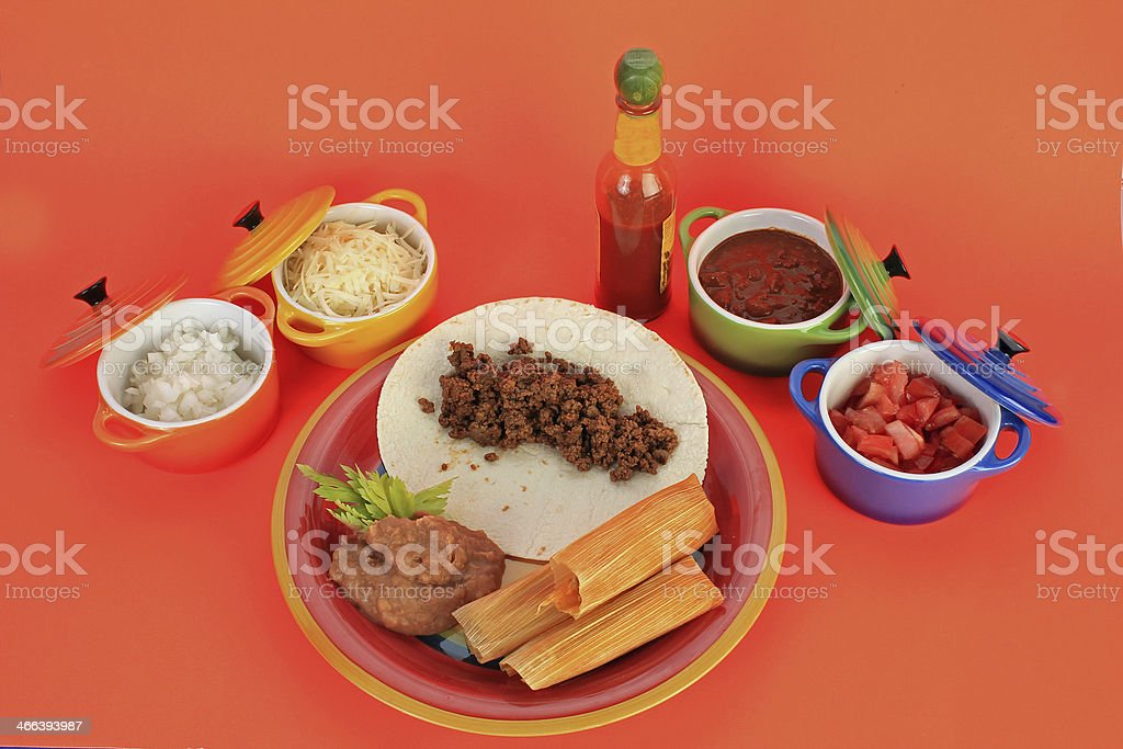 Tamale Plate - top view stock photo