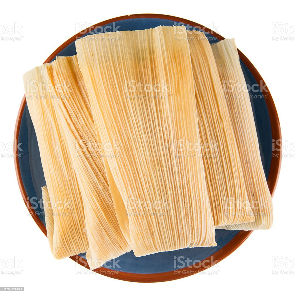 Tamales on Blue Plate Isolated stock photo