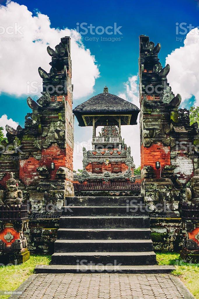 Taman Ayun the Royal Family Temple Gate in Bali, Indonesia stock photo