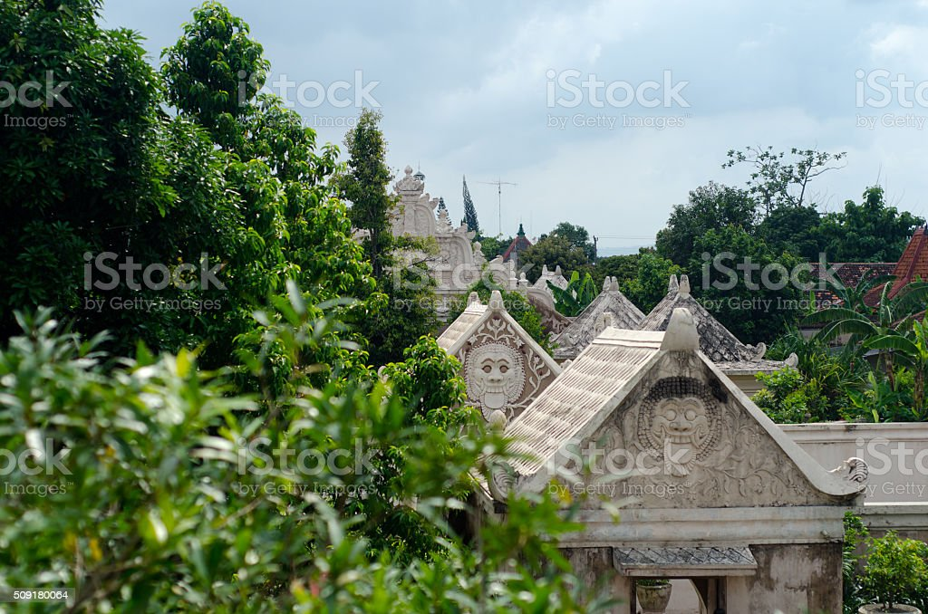 Taman Sari Trees and Buildings stock photo