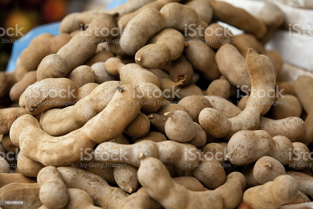 Tamarind for sale in Cambodian street market royalty-free stock photo