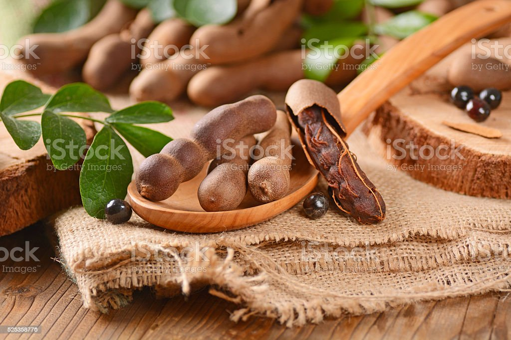 tamarind fruit on the table stock photo