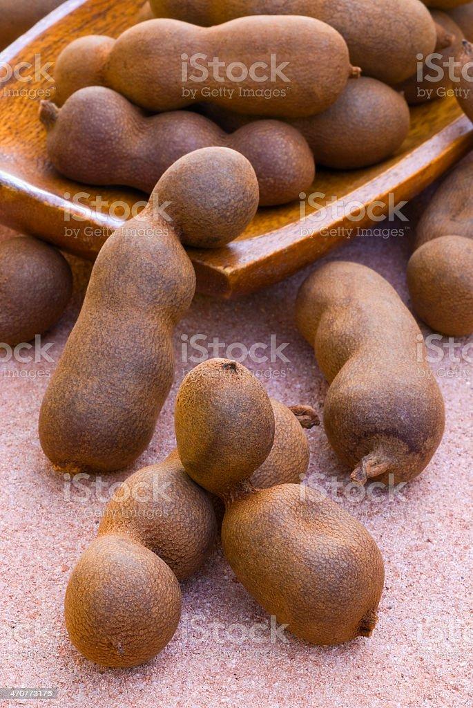 Tamarind pods (Tamarindus indica) stock photo